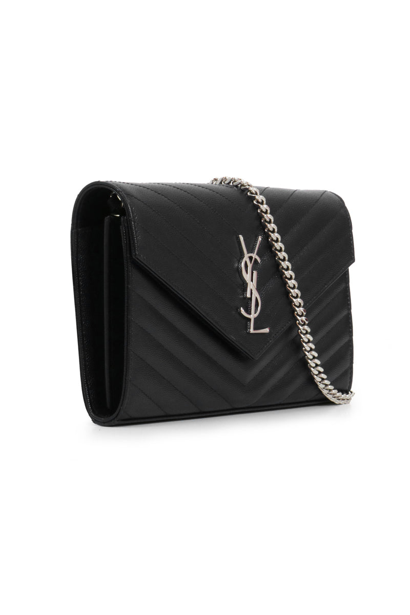 MONOGRAMME QUILTED CHAIN WALLET BLACK/SILVER