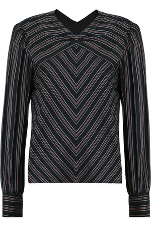 VAL STRIPE BLOUSE BLACK