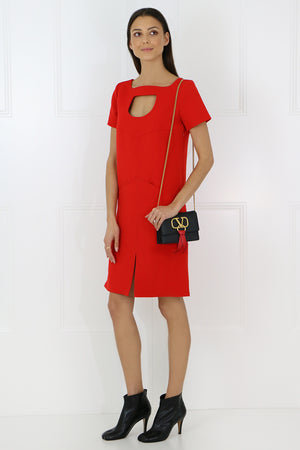 TAILORED MINI DRESS WITH NECK CUTOUT RED