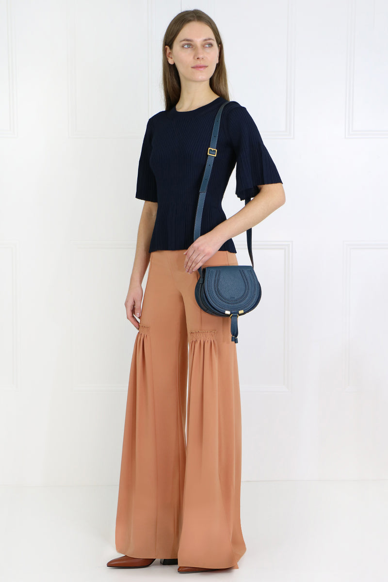 FLARED PANTS WITH FRONT PLEAT SUNNY BROWN