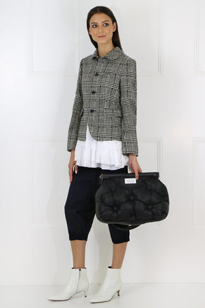 TWEED PEPLUM JACKET NATURAL/BLACK