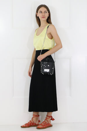 PLEATED MIDI SKIRT BLACK