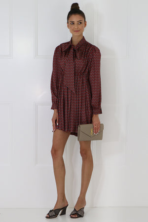 PAISLEY PRINT BABYDOLL DRESS L/S BURGUNDY