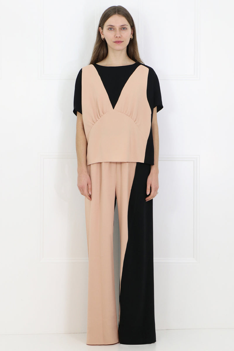 TWO TONE WIDE LEG PANTS BLACK/NUDE