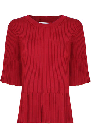 RIB KNIT TOP FLARE SLEEVE S/S ANCIENT RED