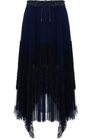 PLEATED LACE SKIRT NAVY