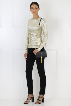 ASYMMETRIC RUCHED TOP L/S GOLD