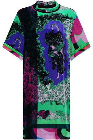 S/S VELVET PRINT SHIFT DRESS EMERALD