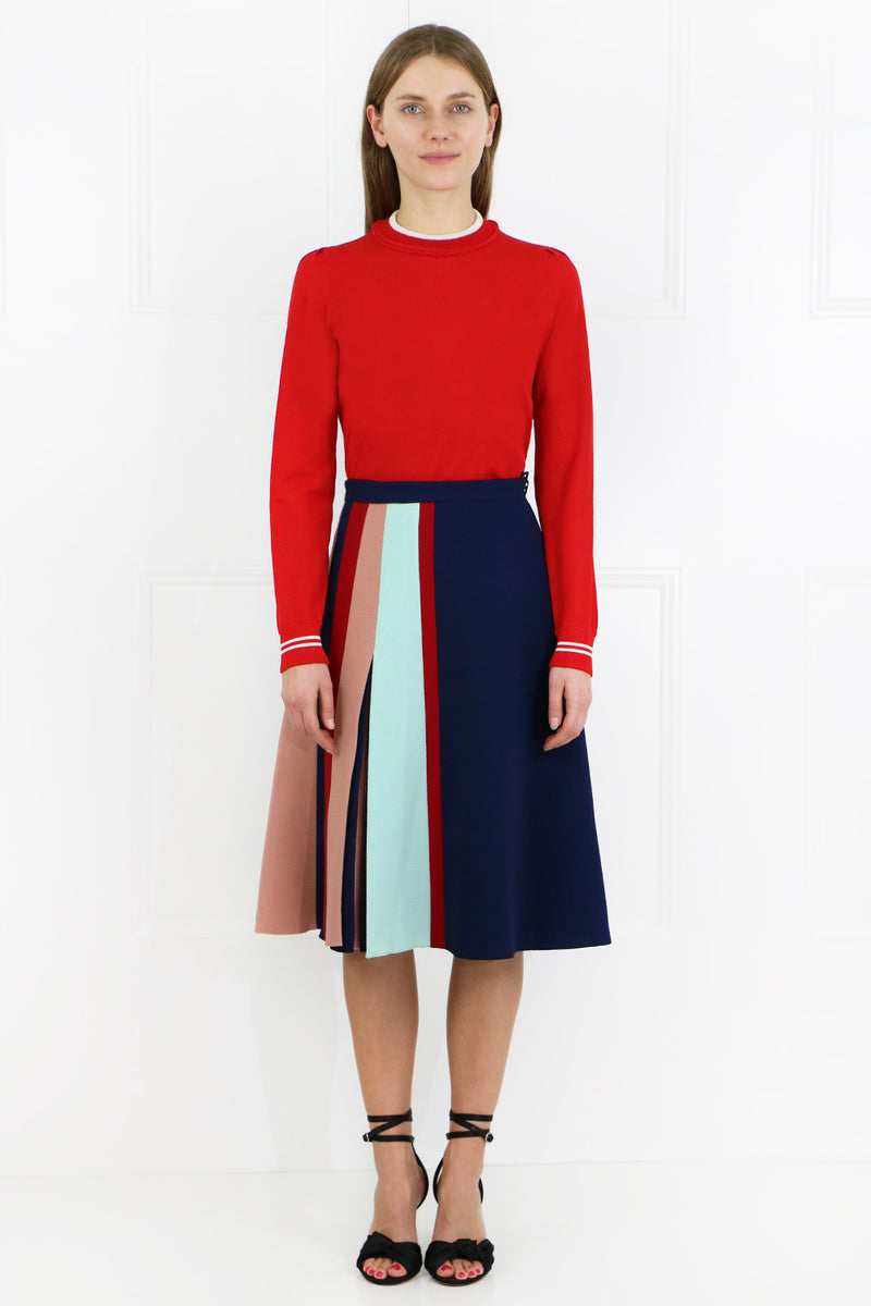 CONTRAST PLEAT SKIRT INSIGNIA BLUE