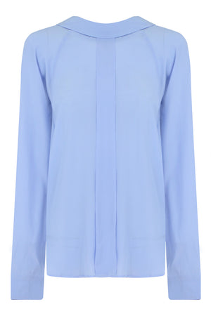 HIGH NECK BLOUSE L/S BLUE