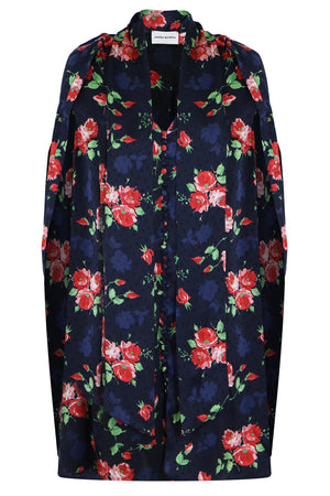 ULURU ROSE PRINT MINI DRESS L/S NAVY
