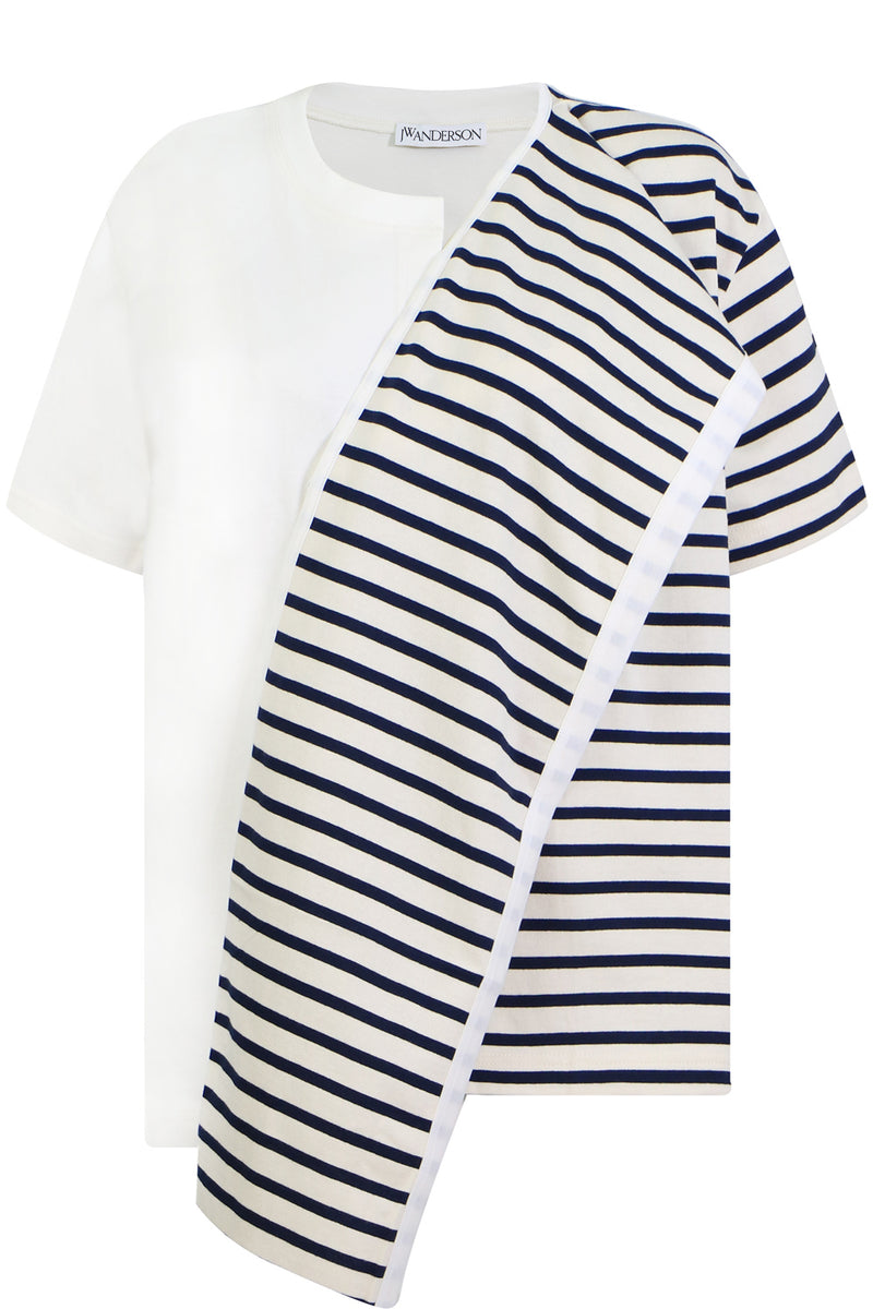 STRIPE T-SHIRT WITH SCARF s/s NAVY/WHITE