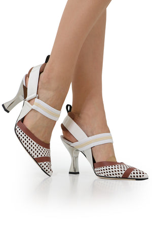 MESH SLINGBACK 85MM WHITE/RUST