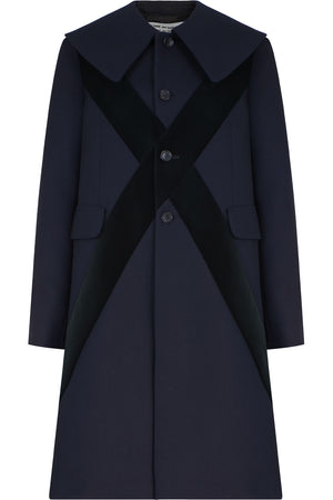 VELVET CROSS EMBROIDERED COAT NAVY
