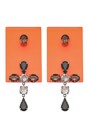 PERSPEX RECTANGULAR DROP EARRINGS ORANGE