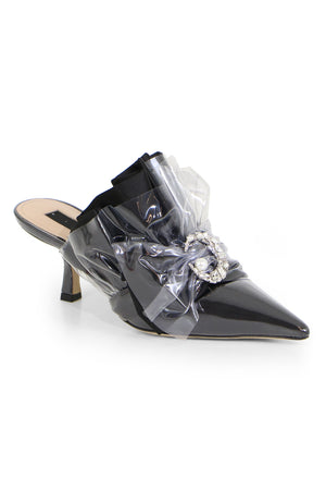 CRYSTAL MULE HEEL 45MM BLACK