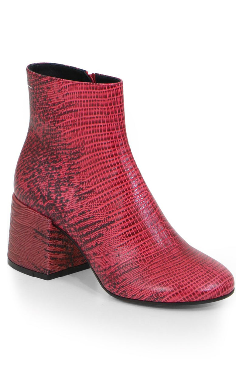 ANKLE BOOT WITH CHUNKY HEEL LIPSTICK RED