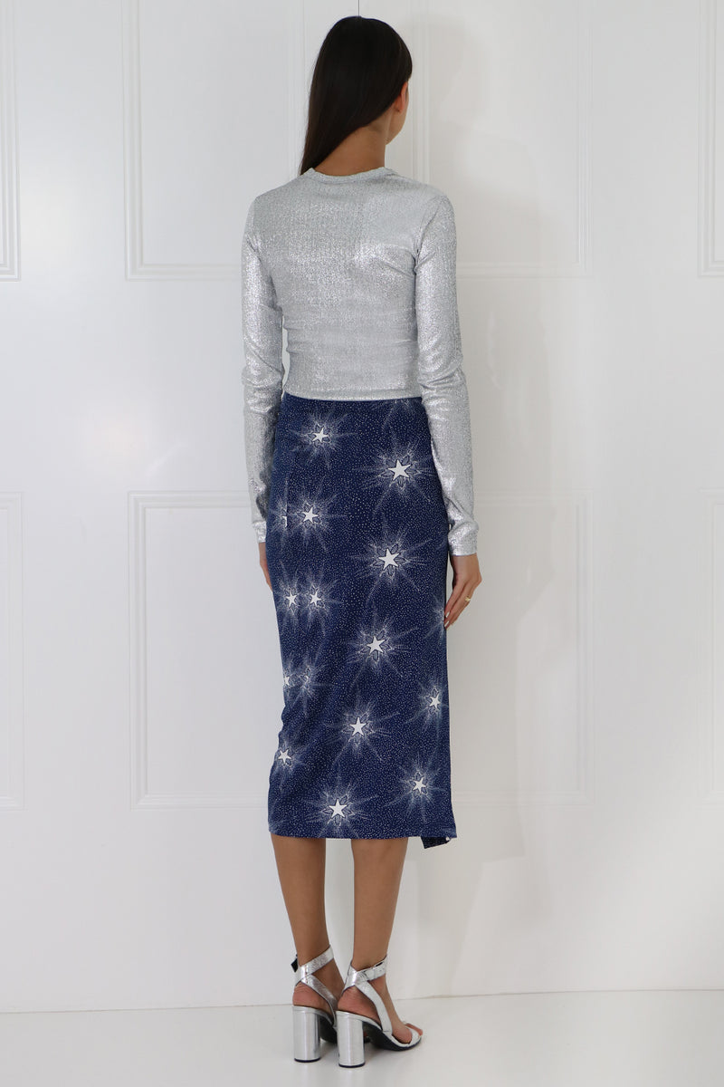 SHOOTING STAR RUCHED SKIRT NAVY