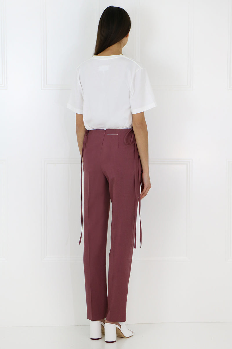 TAILORED PANT WITH WAIST TIE WINE
