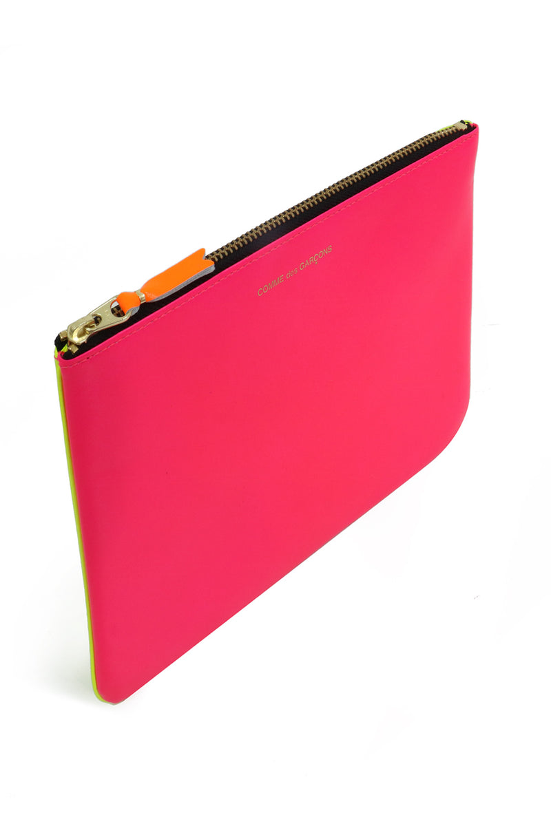 FLURO LEATHER POUCH PINK/YELLOW
