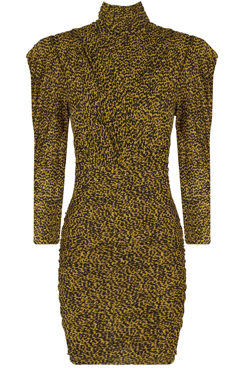 JISOLA ANIMAL PRINT MINI DRESS L/S YELLOW