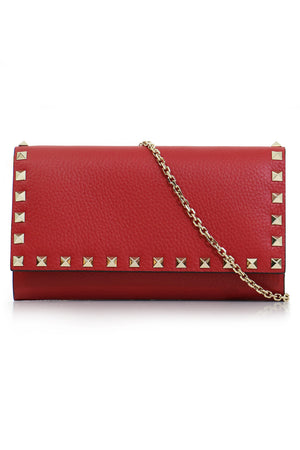 ROCKSTUD CROSS BODY WALLET ON CHAIN ROSSO