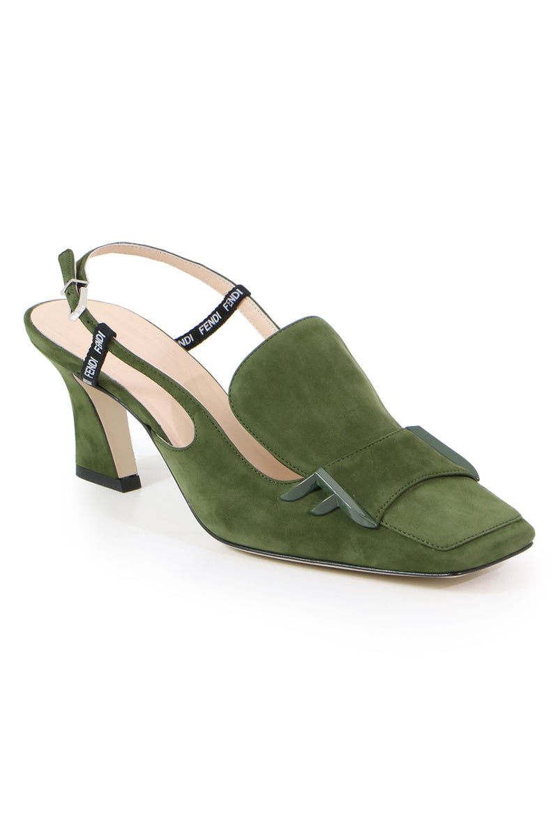 SQUARE TOE SLINGBACK 65MM KHAKI
