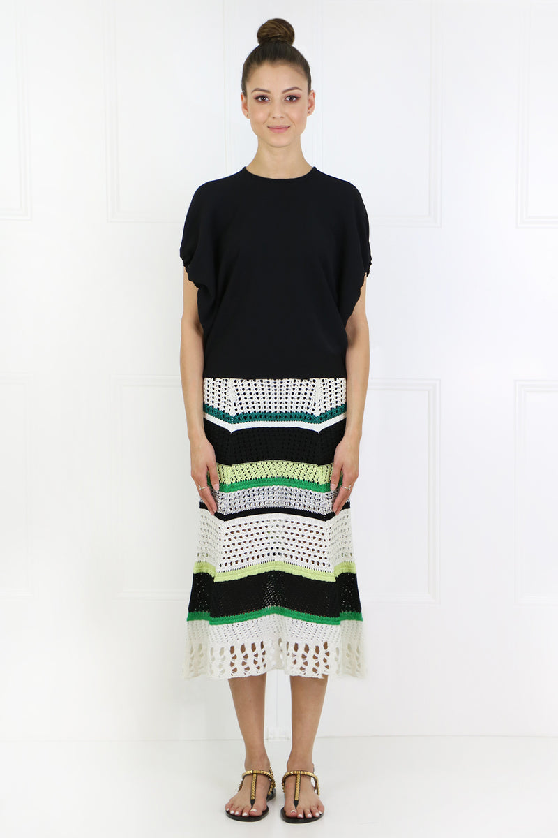 CROCHET KNIT SKIRT WITH STRIPE BLACK/WHITE/GREEN