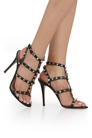 ROCKSTUD FOUR STRAP 105MM SANDAL BLACK/GOLD
