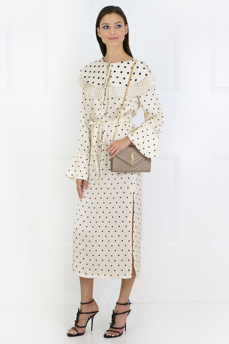 LENNOX BIB DRESS L/S IVORY/POLKA DOT