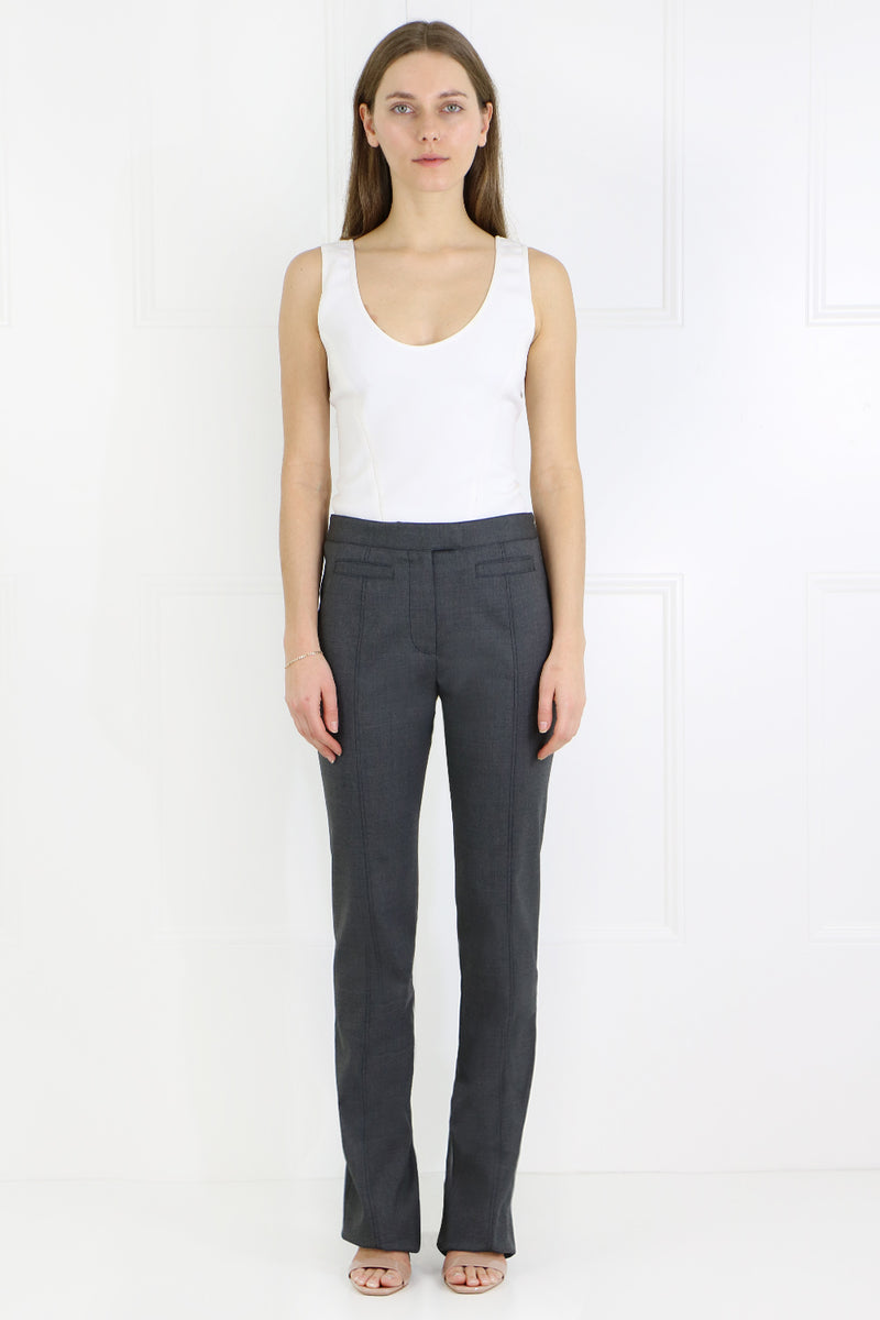 RAW FINISH TUXEDO ZIP TROUSER CHARCOAL