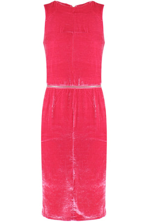 VELVET ZIP DRESS S/LESS PINK