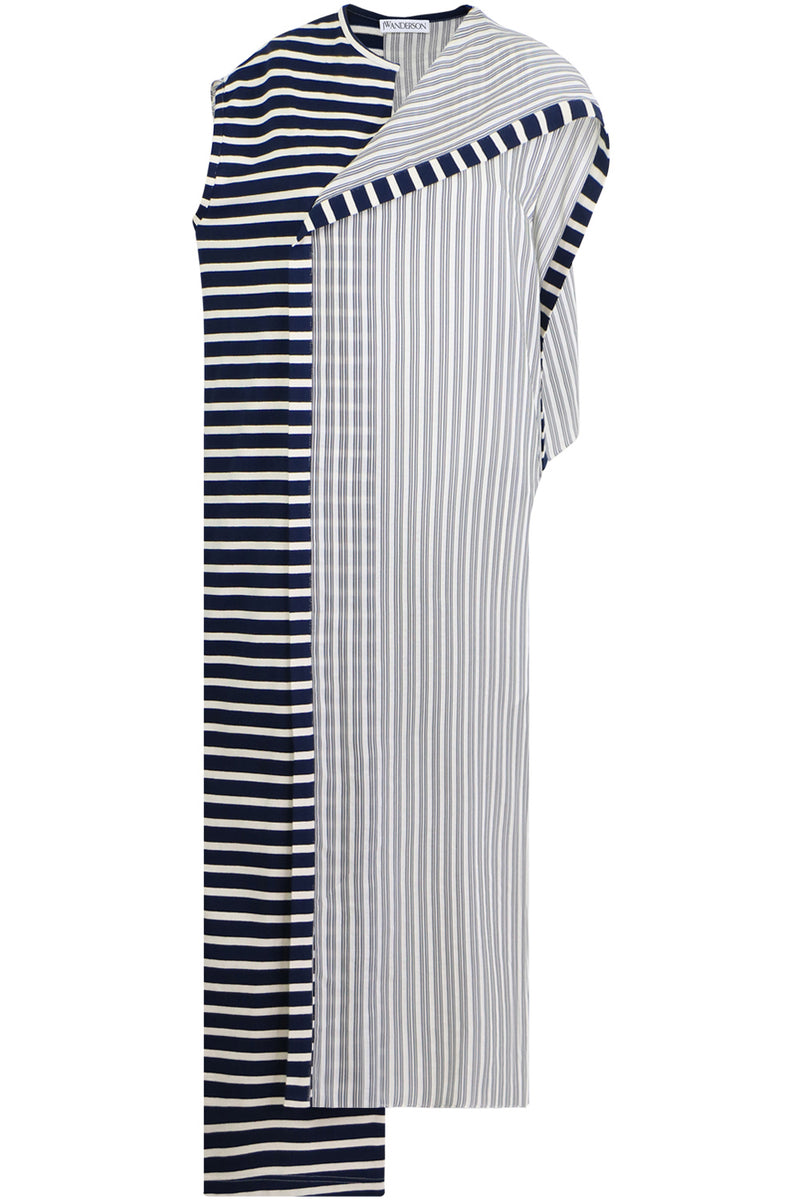 ASYMMETRIC STRIPE DRESS S/S NAVY