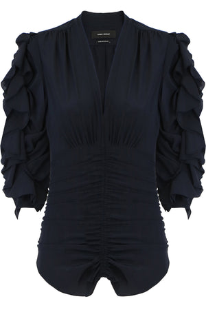ANDORA V NECK BLOUSE WITH RUCHING BLACK