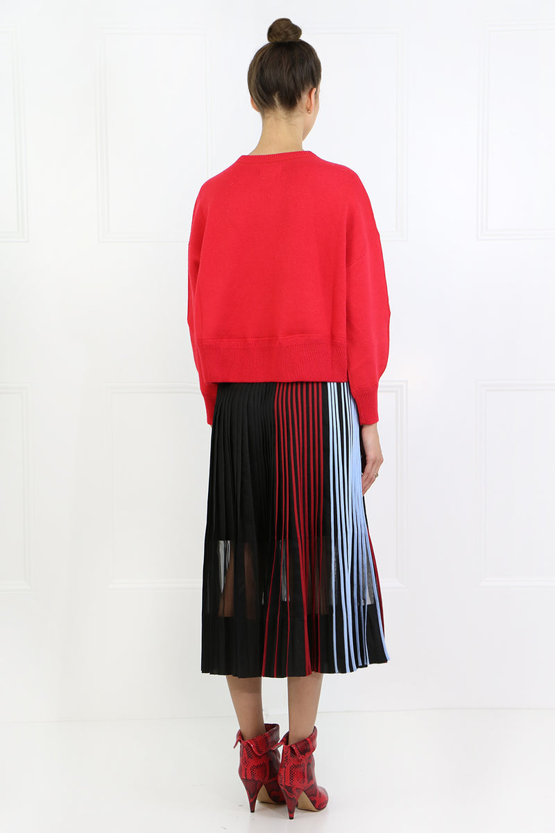 PLEATED SKIRT WITH STRIPE BLACK