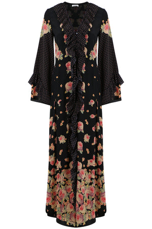 AVENTINA PEONY PRINT DRESS BLACK