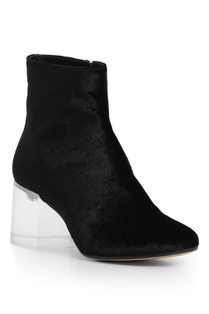 VELVET BOOT WITH TRANSPARANT HEEL 60MM BLACK