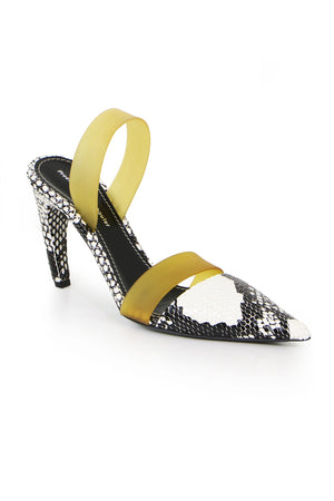 SNAKESKIN MULE WITH STRAP 90MM WHITE/BLACK