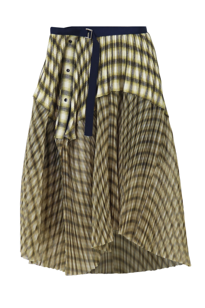 OMBRE CHECK PLEATED SKIRT YELLOW