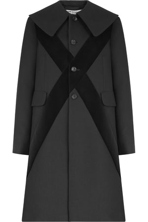 VELVET CROSS EMBROIDERED COAT BLACK