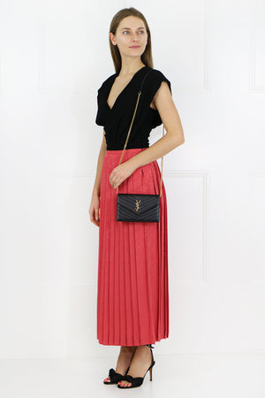 BEATRIX PLEAT SKIRT CORAL
