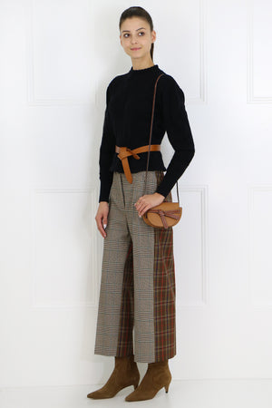 CONTRAST CHECK WIDE LEG PANT BROWN