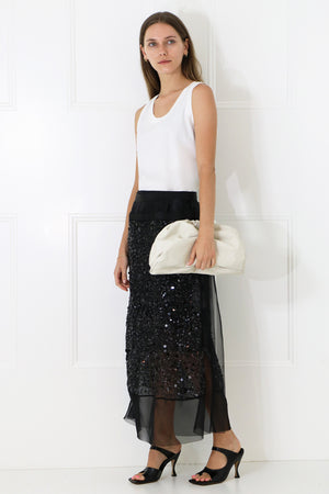 SPANGLE EMBROIDERED MIDI SKIRT BLACK