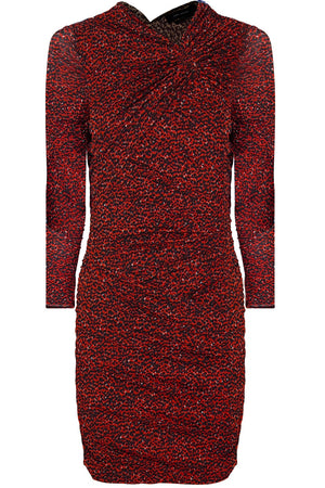 JOBIA ANIMAL PRINT MINI DRESS RED