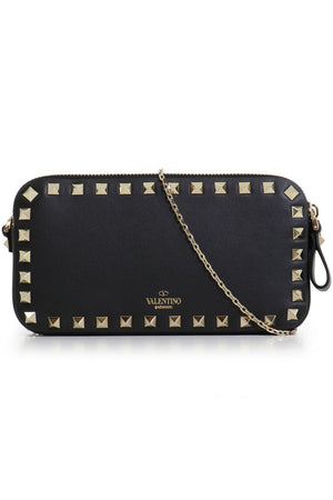 DOUBLE ZIP POUCH WITH CHAIN BLACK