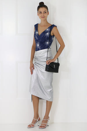 SHOOTING STAR DRAPE NECK CAMI S/LESS NAVY