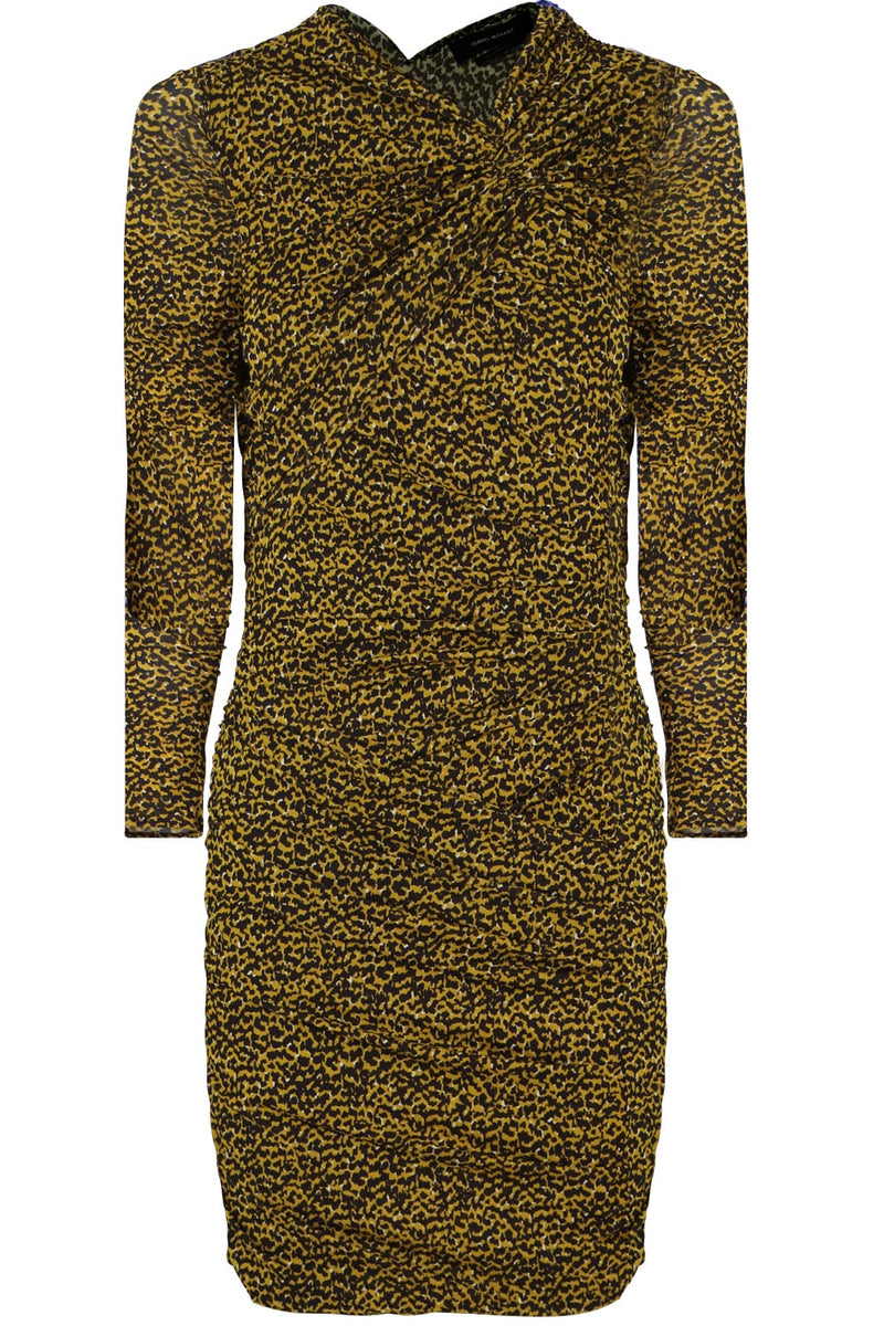 JOBIA ANIMAL PRINT MINI DRESS YELLOW