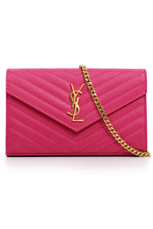 MONOGRAMME QUILTED CHAIN WALLET SHOCKING PINK/GOLD