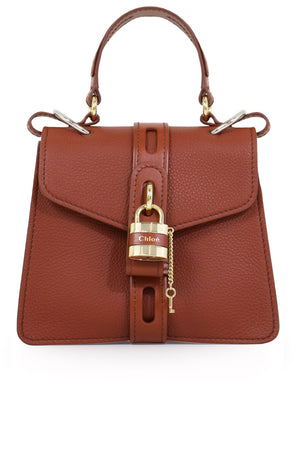 SMALL ABY BAG WITH LOCK SEPIA BROWN