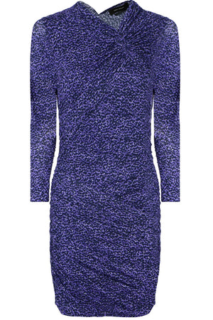 JOBIA ANIMAL PRINT MINI DRESS BLUE
